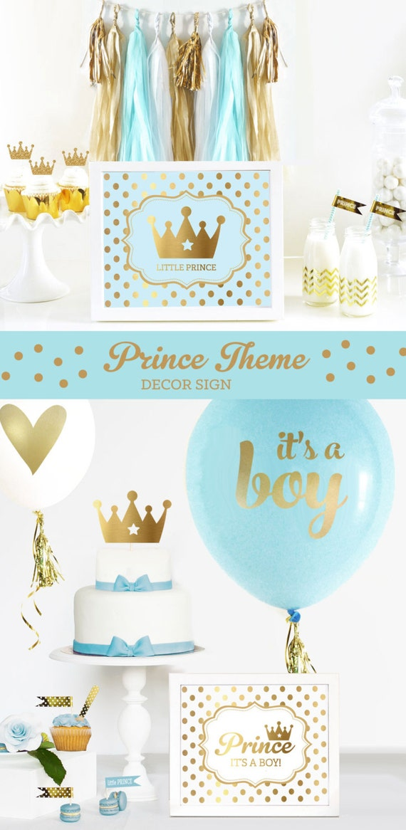 Prince theme baby shower sign prince theme birthday sign for A new little prince baby shower decoration kit