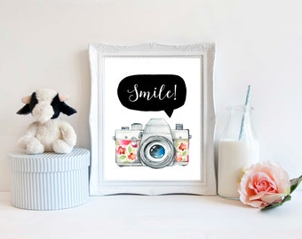 Downloadable Print, Nursery wall art, smile, camera, Digital download, Wall decor
