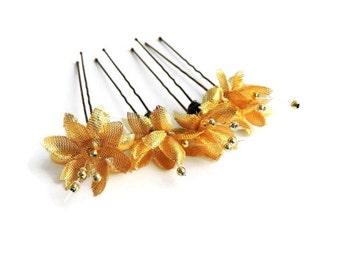 Gold Hair Accessories Flower Hair Pins Set of 4 Fashion Bobby Pins Summer Wedding Accessories Flower Girls Gold Beaded Hair Accessories