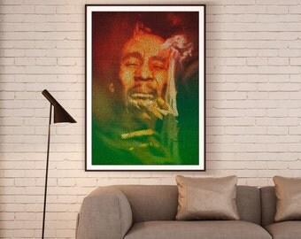 Marley. Bob Marley Typographic Portrait Lyrics Print.