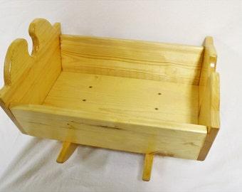 Wooden Rocking Doll Cradle