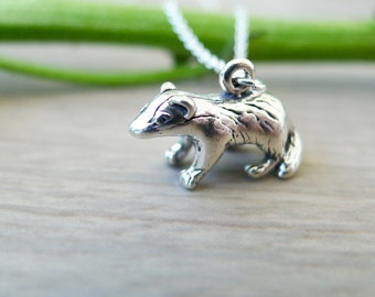 Sterling Silver Badger Necklace, Honey Badger, Don't Care, Baby Badger, Meme Jewelry, Cute Animal, Badger Jewelry, Little Badger