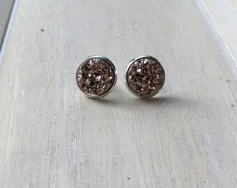 Blush colored faux druzy earrings, ear studs.