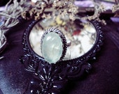 Prehnite Silver Ring, Green Crystal, Oval Ring, Love Stone, Size 9