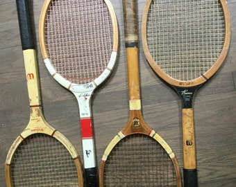 Vintage wood tennis racquets Wilson Biltmor Jack Kramer Collection of 4 Wooden Rackets