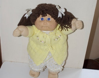 Cabbage Patch Kid Vintage Doll Brown Hair Blue Eyes Dimples Yellow Outfit 1985