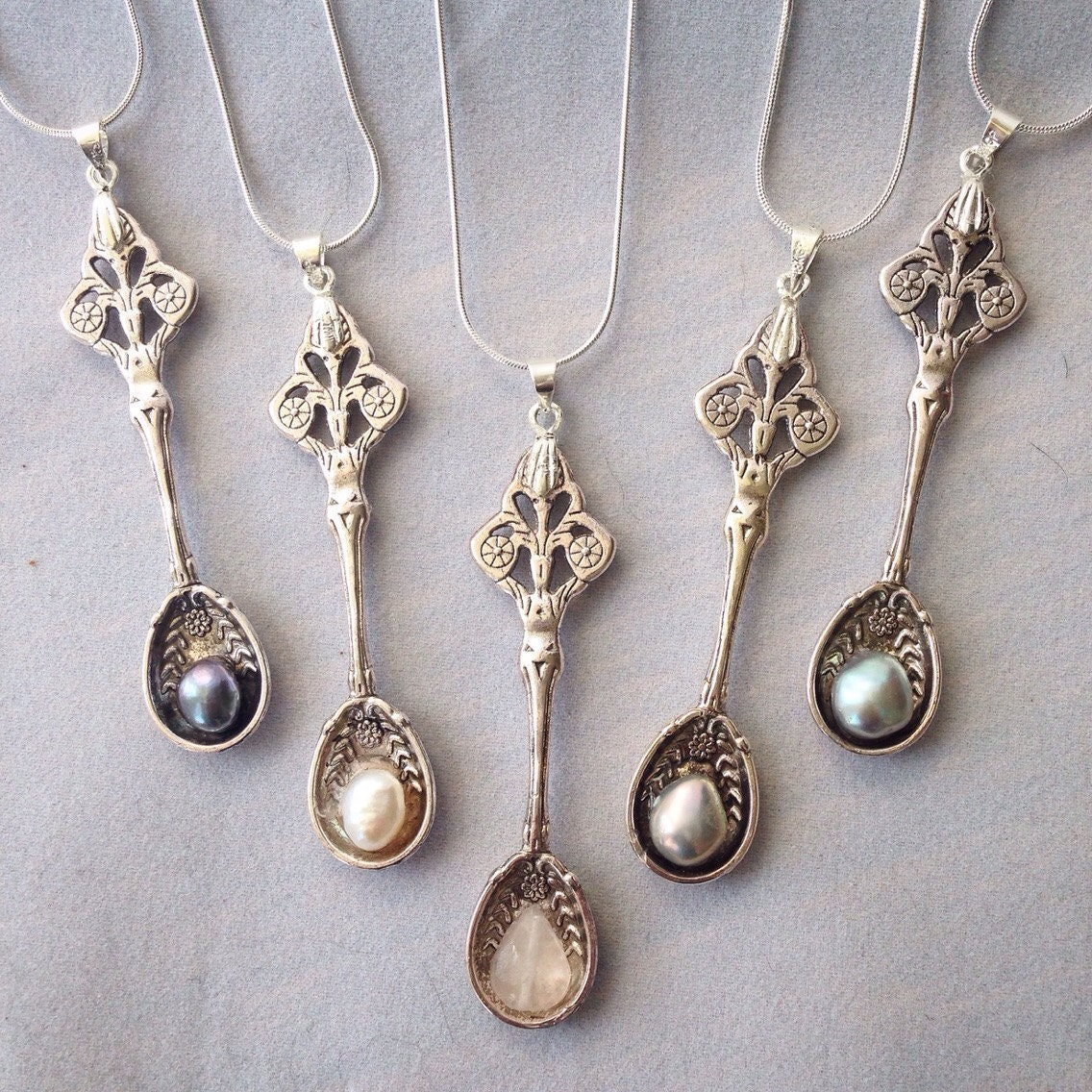 snuff spoon necklace with freshwater pearls by