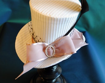Bridal Mini Top Hat,Tea-party Mini Top Hat with Pink Bow and Veil,Bridesmaid Mini Top Hat-Ready to Ship