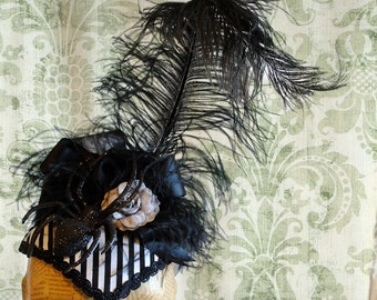 Gothic Halloween Headpiece, Striped Spider Headdress, Victorian Fascinator in Black and White-Custom-Made to Order