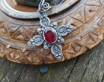Red quartz necklace, ruby red necklace, oxidized silver necklace, cross pendant,cross necklace, gothic necklace, red goth cross pendant