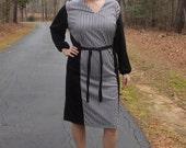 Vintage Black and White Vertical Stripe Dress.