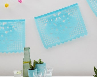 Mexican Papel Picado. Wedding Bunting. Party Bunting. Flower bunting. White, aqua blue, sky blue. Mexican wedding streamer. Mexican banner