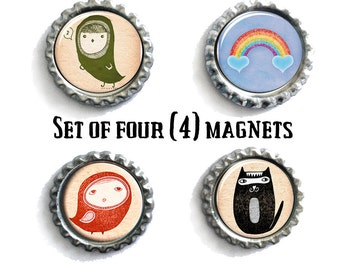 Set Of Four Refrigerator Magnets, Gifts For Her, Housewarming Gifts, Hipster Decor, Cartoon Magnets, Rainbow Magnets, Cat Magnets, Fun Decor