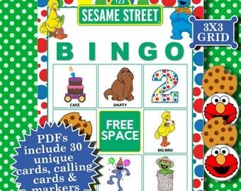 SESAME STREET 3x3 Bingo printable PDFs contain everything you need to play Bingo.