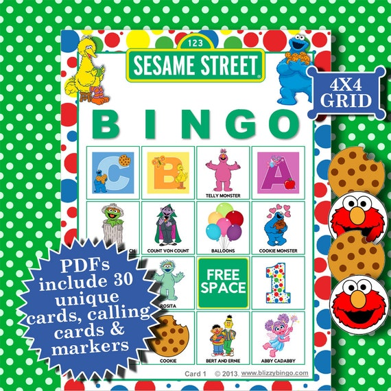 Sesame street 4x4 bingo printable pdfs contain everything you for 4x4 bingo template