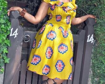 Balma Dress in mustard hues.