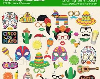 Cinco De Mayo Photo Booth Prop, Mexican Fiesta Photo Booth Prop, Cinco De Mayo, Instant Download, Party Printable