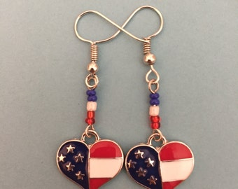 Red, White, and Blue Patriotic US Flag Heart-Shaped Earrings