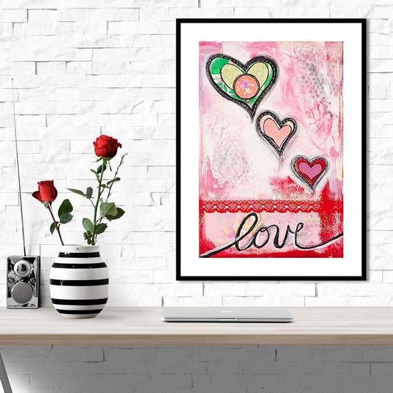Love heart bedroom art decor valentines gifts for by for Bedroom gifts for her