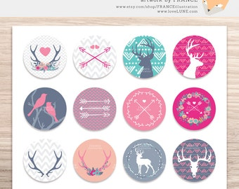 GET 3 FOR 2. Printable Collage Sheet, 1 and 2 inch circles. Arrows + Antlers, Deer, Stag. Cupcake Toppers, Jewelry Art, Scrapbooking, CA002.
