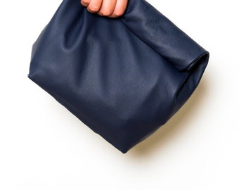 Ocean Blue Leather Lunch Clutch