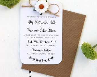 Rustic, Daisy and Twine Bow Small Evening Invitation