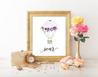 Purple Hot Air Balloon Art Print, 8x10 Printable Nursery Wall Art, Floral Hot Air Balloon, Watercolor Print, Baby Shower, Nursery Quote