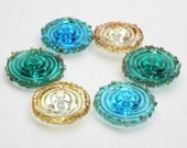 Mix Set of 10 Spiral Disc Beads - Teal Green, Blue Aquamarine, Clear, Gold Frit - Large Transparent Flat Coin - Handmade Lampwork Glass Bead
