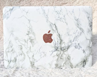 Marble MacBook Hard Case with Glitter Logo | White Marble | Air 11 13 | Pro 13 15 | Retina | Touchbar