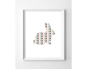 Nursery Wall Art Print // Nursery Decor // Bunny Silhouette // Peach Coral Mint Triangles