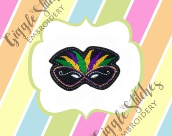 Feathered Mask Feltie Embroidery Design