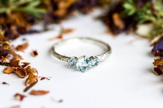 Aquamarine sterling silver twig engagement ring, aquamarine engagement ring, march birthstone ring