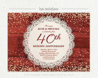 40th anniversary invitation ruby red wedding anniversary 40th wedding anniversary invitation ruby anniversary party invitation red glitter confetti lace doily rustic stopboris Choice Image