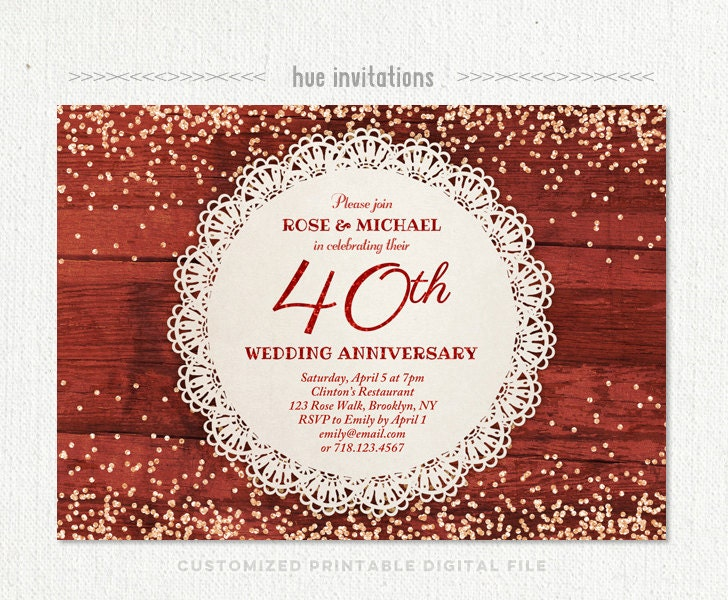 40th wedding anniversary invitation ruby anniversary party for 40th wedding anniversary invitations