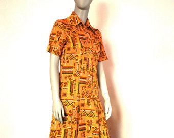 Mustard Yellow Vintage Dress With Pleated Skirt, Abstract Pattern Shirt Dress With Short Sleeves
