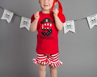 Girl Pirate Birthday Shirt with Number with Ruffle Pirate Shorts