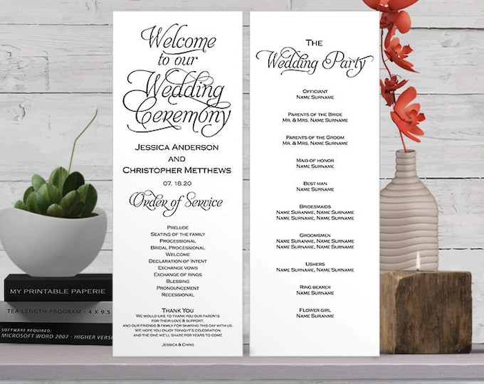 Template for wedding program