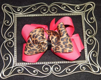 6 Inch Cheeta Hair Bow, Pink Hair Bow, Big Hair Bow, Stacked Hair Bow, Animal Hair Bow, Boutique Hair Bow, Pink Cheeta Hair Bow, Bows, Bows