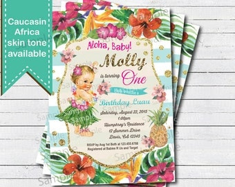 Hula girl 1st first birthday invitation. Vintage Summer tropical pool party, beach party birthday, hawaii luau printable invite B219