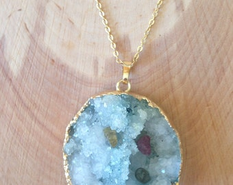 Natural Blue Agate Druzy Tourmaline Pendant & 14K Gold Filled Chain Necklace / Boho Luxe Necklace