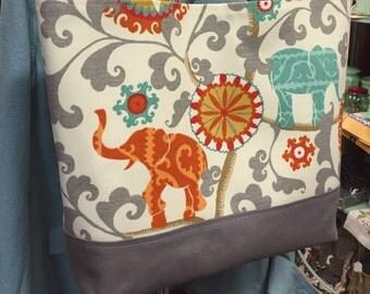 SALE! Elephant tote: large with aqua blue interior