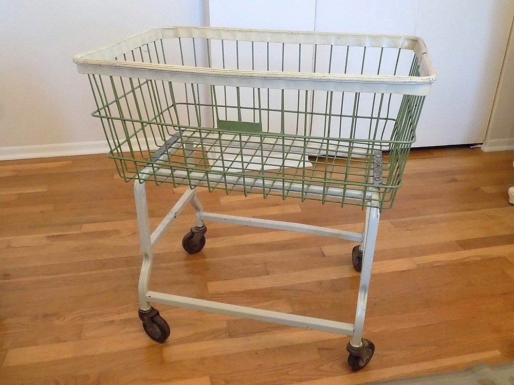 RARE SMALLER SIZE Antique Industrial Wire Laundry Cart