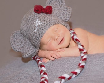 Elephant Hat, Baby boy hat, Baby girl hat, Crochet Elephant hat, Photo Props, Photography Props, Football Hat.