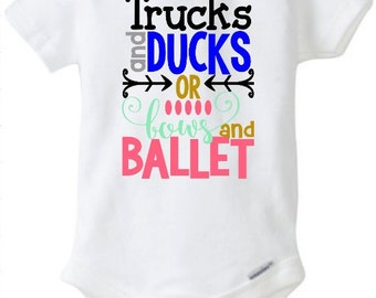 Pregnancy/Birth/Adoption Announcement Trucks and Ducks or Bows and Ballet  Baby Girl Boy Toddler Onesie Tshirt Infertility Prayer Church