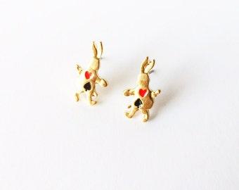 CLEARANCE - Bunny earrings - Gold rabbit earrings - Fashion earrings - Post earrings - Stud earrings - Alice in Wonderland - Gold earrings