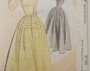 McCall 8120 is for a 1950 evening dress pattern with pleated upper bodice and upper skirt, shoestring straps. In 2 lengths. 34 inch bust.