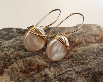 White Pearl Earrings, Cornflake Keishi Freshwater Pearls Earrings,  14kt Gold or Sterling Silver, Handmade by LisaJStudioJeweler.