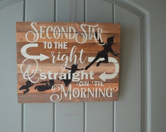 Disneys Peter Pan second star to the right verse hand made wood sign perfect for a childs  room but also for the kid that has not grown up