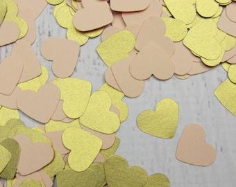 500 Peach Confetti Hearts - Peach and Shimmery Gold Heart Confetti - Peach Table Scatter - Peach Party Decor