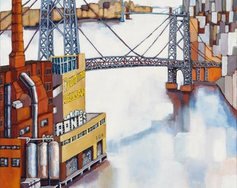 "Williamsburg Bridge . Fine Art Print . 20""x20"" / 50.8 x 50.8 cm"